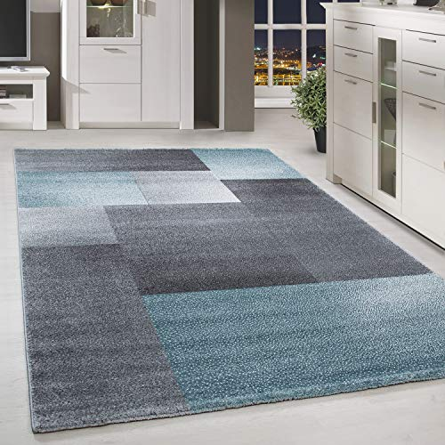 HomebyHome Kurzflor Design Teppich Rechteck Karo Muster Wohnzimmerteppich Grau Blau Meliert, Grösse:160x230 cm