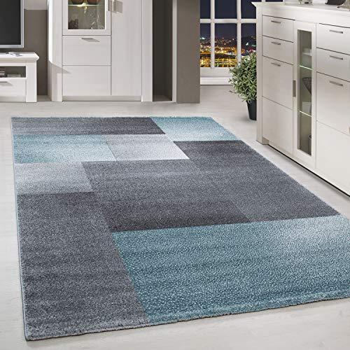 HomebyHome Moderner Design Teppich Kurzflor Kariert Gemustert Wohnzim. Grau Blau Meliert, Größe:160x230 cm