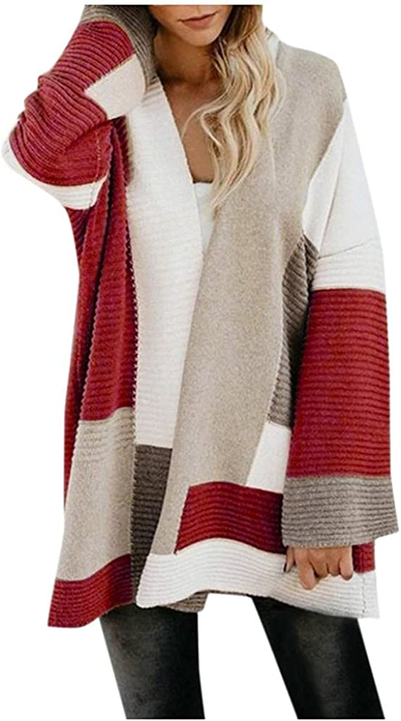 Womens Cardigans Plus Size Cardigan Sweaters Open Front Knit Cardigan Patchwork Cardigan Casual Loose Jacket Coat Tops