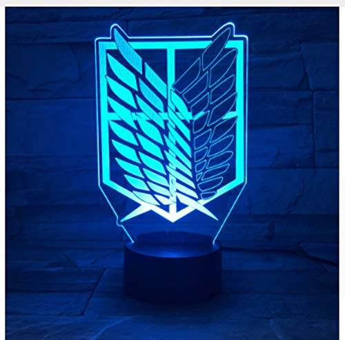 Leselampe Nachttischlampe Tischlampe Schreibtischlampe Tischleuchte 7 Colors Lamp Anime Attack On Titan Wings Of Liberty 3D Light Touch Led Lamp Usb Or 3Aa Battery-Operated