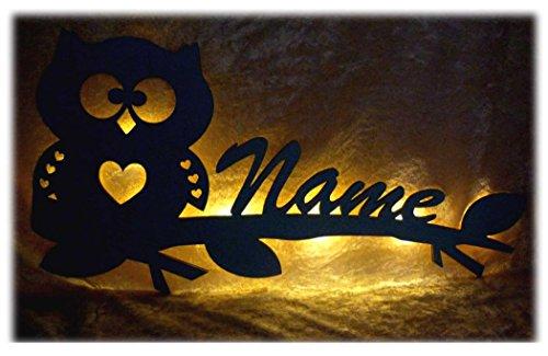 Schlummerlicht24 Eule Herzi Eulenlampe, besonderes Led Geschenk mit individuellem Namen, Geburts- oder Taufgeschenk für Kinderzimmer Jungs Mädchen