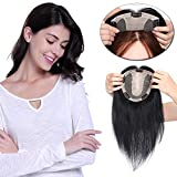 Human Hair Topper Donna Extension Capelli Veri Toupee Silk Base (Parte di Mezzo) Netto 15 * 16cm Remy Human Hair Lisci Invisibile Naturale (30cm-60g, 1 Jet Nero)