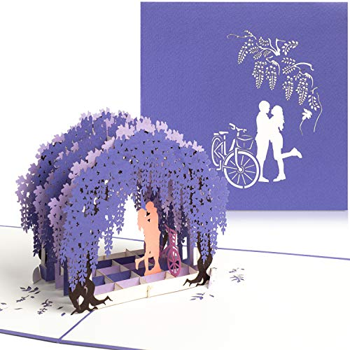 """PaperCrush® Pop-Up Karte Liebe """"Paar mit Fahrrad"""" [NEU] - Besondere 3D Geburtstagskarte, Glückwunschkarte zum Hochzeitstag oder Jahrestag für Sie und Ihn (Frau, Freundin, Freund)"""
