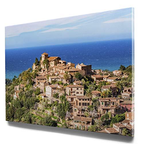 Panorama Leinwand, Deia, Mallorca - als 150x50cm großes XXL Leinwandbild. Wandbild als Hintergrund und Deko für Wohnzimmer & Schlafzimmer. Aufgespannt auf 2cm Holzrahmen