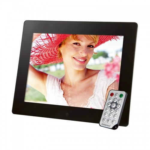 Intenso Mediagallery Digitaler Bilderrahmen (24,6 cm (9,7 Zoll) LCD-Display, Videofunktion, MP3-Funktion, Diashow, Fernbedienung) schwarz