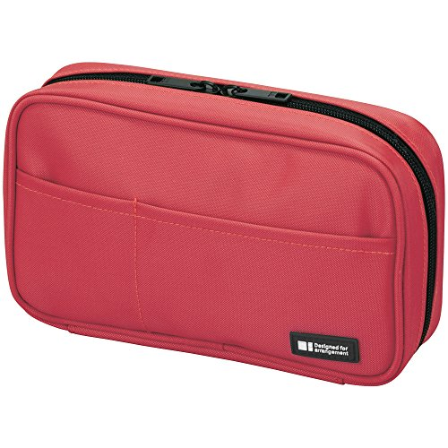 LIHIT LAB Zipper Pen Case, 7.9 × 2 × 4.7 inches, Coral (A7551-103)