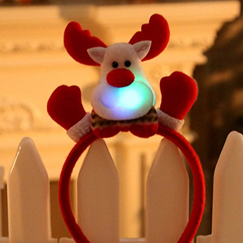 J-IESD Kerstmis Hoofdbanden met Lichten, Leuke Rendier Kostuum Haar Bands Kerstmis Nieuwigheid Party Decor Santa Snowman Pailletten Kerstmis Haaraccessoires voor Meisjes Vrouwen