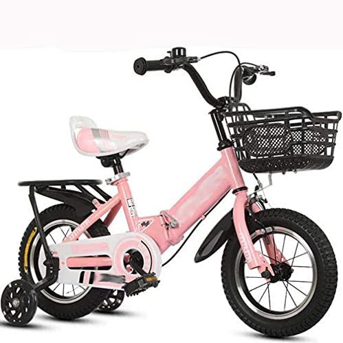 HUAQINEI Bicicleta Plegable para niños con Asiento Trasero Cochecito de 12-18 Pulgadas, Adecuado para niños y niñas de 2 a 9 años, Rosa, 18 Pulgadas