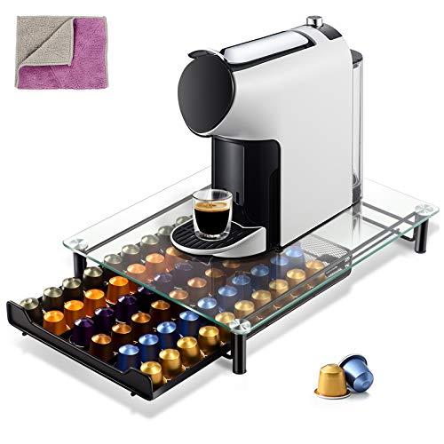 MASTERTOP Kaffee Ständer-Kaffee-Kapselhalter für 60 Kaffeepads mit Doppelseitiges Reinigungstuch-Aufbewahrungsbox für Kapseln aus gehärtetem Glas