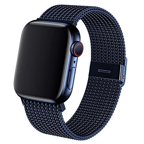 Dratar Metal Strap Compatible with Apple Watch Strap 38mm 40mm 42mm 44mm, Stainless Steel Mesh Loop Replacement Wristband Compatible with iWatch Series 5 4 3 2 1 (42MM/44MM, Blue)