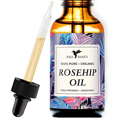 Rosehip Seed Oil by Baja Basics 100% Pure, Cold Pressed, All Natural, Toxin Free, Anti Aging, Ultra Hydrating, Balancing Moisturizer for Dry or Mature Skin, Face, Body, Hair & Nails (Small, 1 oz.)