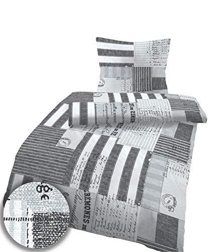 Soma Biber Bettwäsche 4 teilig Bettbezug 135 x 200 cm Kopfkissenbezug 80 x 80 cm Karo anthrazit