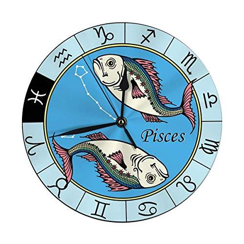 AEMAPE Reloj de Pared Decorativo Big Piscis Imagen del Signo Zodiacal astrológico Reloj Redondo Digital Blanco