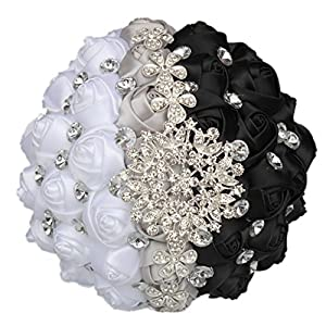 S-SSOY Wedding Bouquet Bride Bridal Bouquets Pearls Diamond Silk Rose Bridesmaid Holding Bouquet Artificial Flowers Valentine's Day Confession Party Church with Corsage Flower