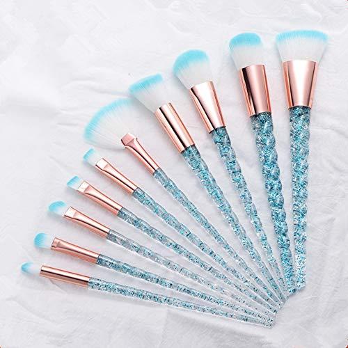 Zljljlj 10pcs Unicorn Pinceaux Ensembles de teint en poudre cosmétiques fard à joues de fard à paupières Femmes Beauté Glitter Make Up Outils Pinceau (Color : Silver Blue)