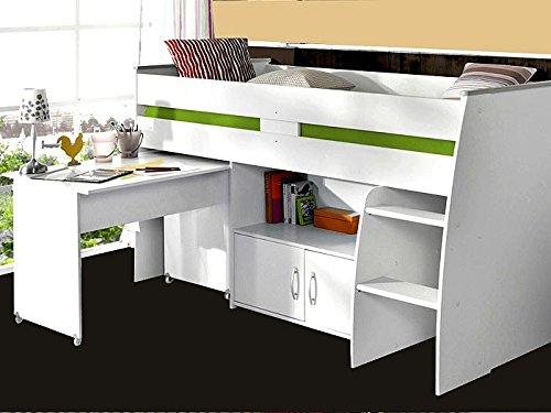 *expendio Hochbett Rean 1 204x110x177cm weiß Kinderbett Schreibtisch Kommode Kinderzimmer Bett*