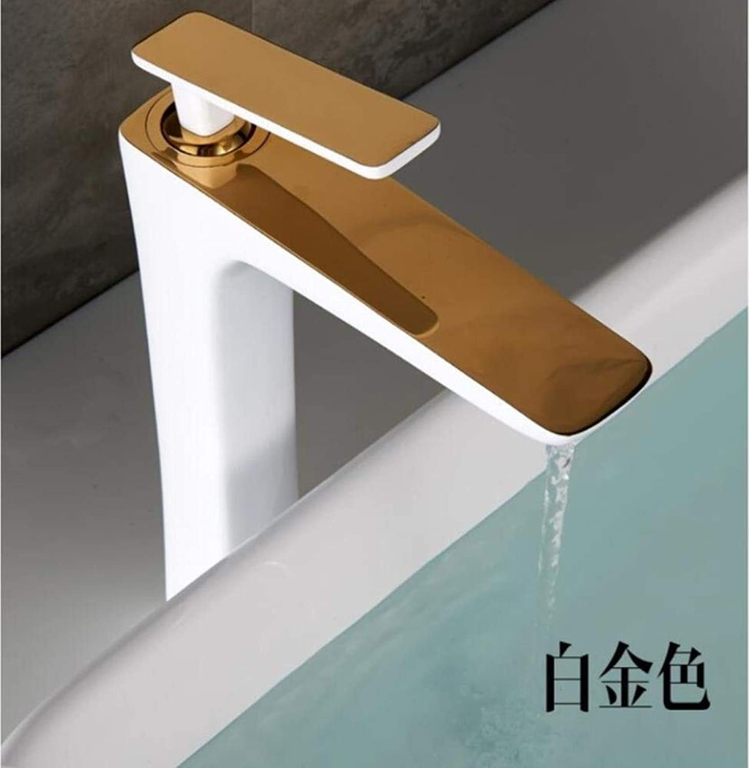 Kai&Guo Basin Faucet Black White Basin Mixer Brass Crane Bathroom Faucets Hot and Cold Water Mixer Tap Contemporary Mixer Tap torneira,gold white tall