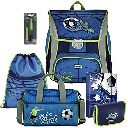 Soccer Blue Fußball Football BAGGYMAX SIMY Leicht Schulranzen Set 6tlg Hama mit SCHULSPORTTASCHE und SCHREIBFÜLLER gratis dazu