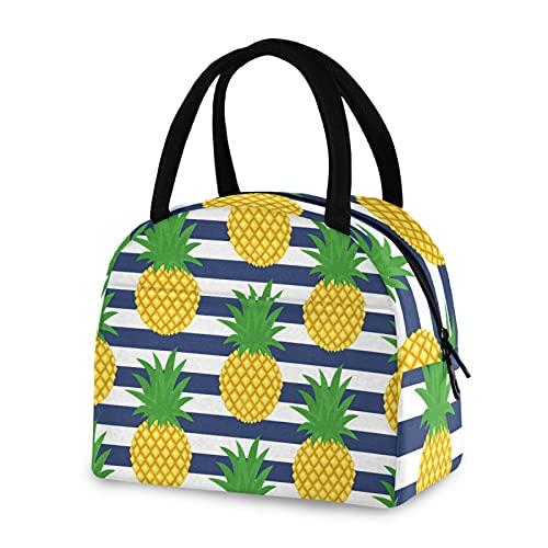 Bolsa de almuerzo reutilizable con aislamiento piña azul blanco raya nevera caja para hombres y mujeres trabajo picnic o viajes