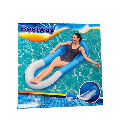 Wuudi 160 * 84CM Luftmatratze Pool Wasserhängematte mit Netz Aufblasbarer Schwimmender Schwimmbett Schwimmmatratze Wassersofa Wasserstuhl für Pool und Strand für Erwachsene und Kinder