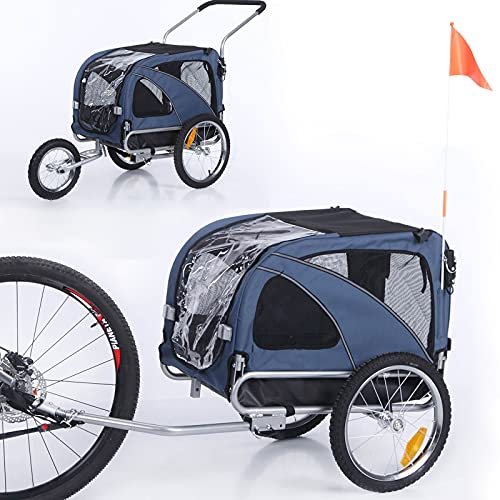 Sepnine 2 in1 Medium pet Dog Bike Trailer Bicycle Trailer and Jogger 10201 (Blue)