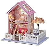XZJJZ Miniatur-Puppenhaus aus Holz Möbel-Set, handgemachte Mini Startseite Modell LED-Licht, Puppenhaus Spielzeug for Kinder Geschenk