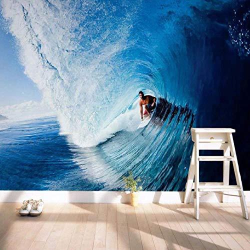 Fototapete Surfen 3D Vlies Tapete Moderne Art Wanddeko Design Tapete Wandtapete Wand Wohnzimmer Dekoration,140x100 cm(W x H)