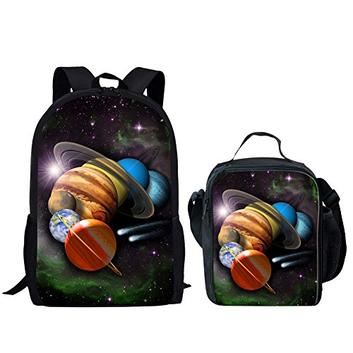 HUGS IDEA Universe Space Pattern Boys School Backpack Lunch Bag Set
