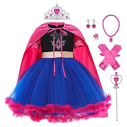 Costume da principessa per bambine, per carnevale, feste di compleanno, feste di Halloween, carnevale, abito da ballo, vestito da damigella d'onore Blu 2 5-6 Anni