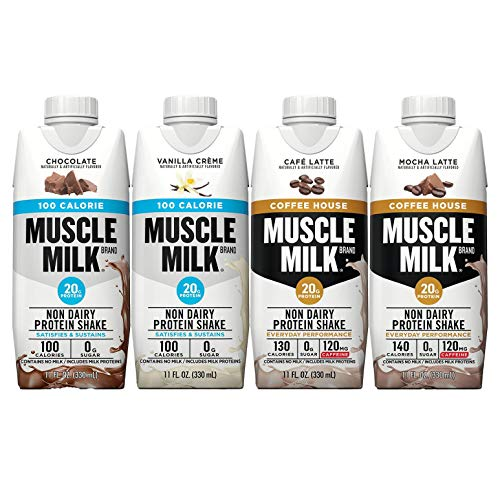 Muscle Milk Protein Shake Variety Pack Includes 100-Calorie Vanilla Creme, Chocolate, And Coffee House Café Latte, Mocha Latte, Shakes (8 Pack)