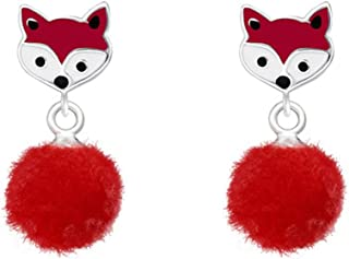 PTN Cute Small Red Fox Earrings Stering Silver with Pom Pom Studs Earrings (E37157)