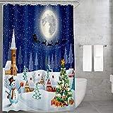 Carttiya Duschvorhang Weihnachten, Stoff Bad Vorhang aus Polyester, Anti-Schimmel, Wasserdichter, Waschbar Textil Badewanne Vorhangmit Beschwertem Saum & 12 Duschvorhängeringen Blau