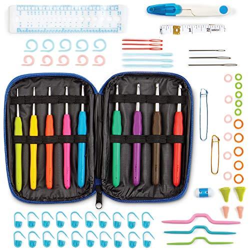 WINTEX 78-teiliges Häkelnadel-Set, Häkelnadeln ergonomische Griffe in verschiedenen Größen, Zubehör, Kit mit Tasche für alle Wollarten, Sticknadeln