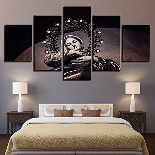 jqnxww Pintura en Lienzo Arte de la Pared Impresiones HD Decoración para el hogar 5 Piezas Virgen María Jesús Fotos Ortodoxa Religión Poster Marco de la Sala de Estar-Cuadro