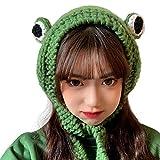 Tocwick Diadema de rana sombrero lindo ganchillo diadema de punto al aire libre Big Eye Frog Cap Earflap Ear Protective Festival Cosplay Hat Mujeres Niñas, Gorro de rana, talla única