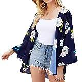 Kimono Cardigan Mjuer - Cardigan Floral Mujer, Camisolas y Pareos Pareo Playa Chal Kimono Cover Up Manga 3/4 Loose Floral (Azul Oscuro, L)