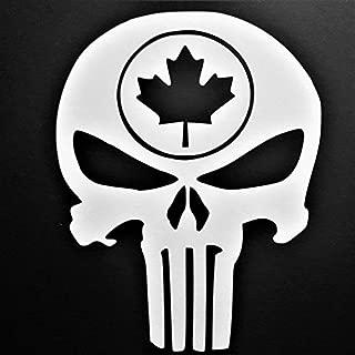 Chase Grace Studio Punisher Maple Leaf Vinyl Decal Sticker WHITE Cars Trucks Vans SUV Laptops Walls Glass Metal 5.5