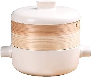 BLLXMX Casseroles Stove Ceramic Cookware White Bamboo Steamer Casserole Stewpan High Temperature Resistance Bamboo Steamer...