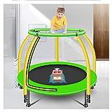 4ft trampolines pour les enfants, 360 degrés en forme d'anneau de saut aider Rampes, protection renforcée externe, saut en hauteur élastique intégré en tissu, absorbant les chocs et Silent Feet,Vert