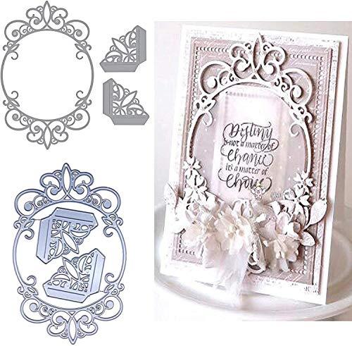Stanzschablonen aus Metall, ovaler Rahmen, Hochzeitspitze, für Bastelarbeiten, Scrapbooking, Fotos, dekorative Prägung, Papierschablonen für Scrapbooking, Kartenherstellung