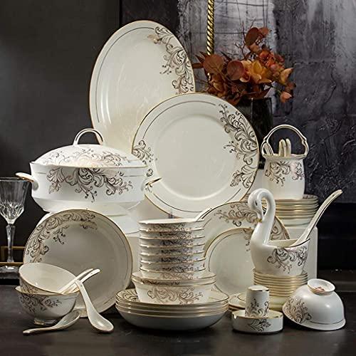 China Juego de vajilla, plato de cena, juego de vajilla de porcelana, juego de cena de porcelana para reuniones familiares y regalos de boda - 60 piezas de lujo de Phnom Penh, platos y cuencos de