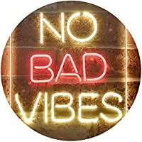 No Bad Vibes Room Display Dual Color LED看板 ネオンプレート サイン 標識 赤色 + 黄色 300 x 400mm st6s34-i3353-ry