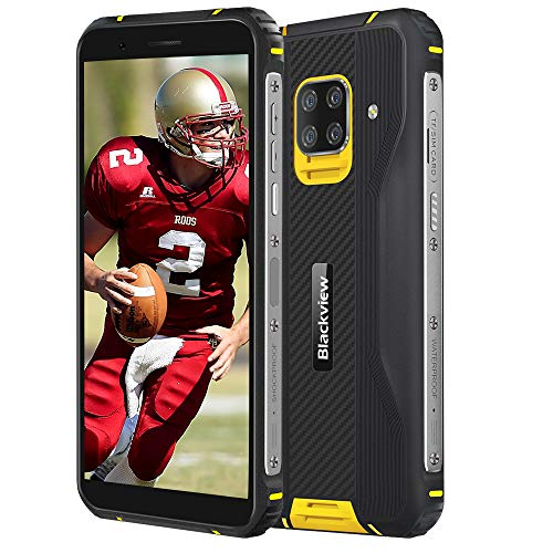 Blackview BV5100 (2020) 4G Smartphones Rugged Android 10, 4GB + 128GB, Camera HDR Quad 16MP + 13MP, Ricarica Wireless, IP68 Robusto Cellulare Rresistente, HD+ 5,7   , NFC FM Bussola Giallo