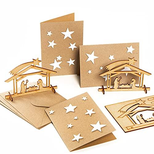 Logbuch-Verlag 3 kartki z życzeniami bożonarodzeniowymi z gwiazdami + szopka bożonarodzeniowa z drewna – kartki bożonarodzeniowe bez tekstu DIN A6