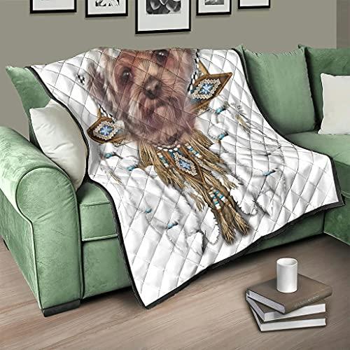 AXGM Colcha acolchada con diseño de perro Yorkie con atrapasueños, manta para el sofá, color blanco, 200 x 230 cm