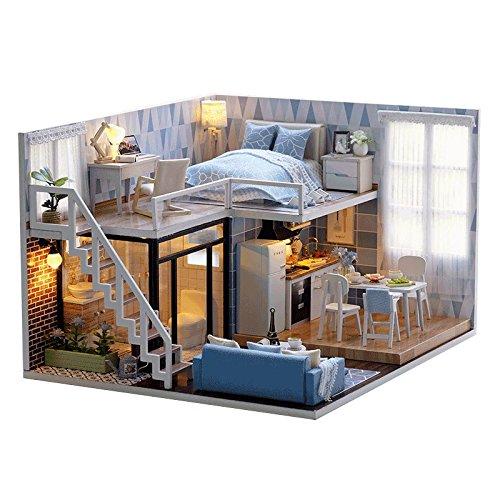 Cuteroom Modello Blue Times Kit fai da te per casa delle bambole in legno, fatta a mano, in miniatura, con luci a LED