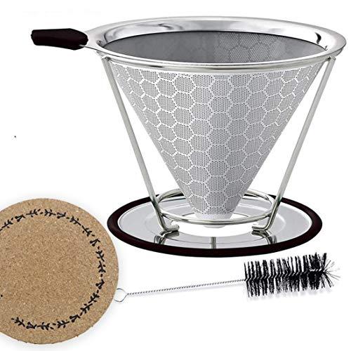 YUKIK goteador de café sin papel con soporte para taza, filtro de cono para cafetera de goteo, 1 filtro de café reutilizable de acero inoxidable