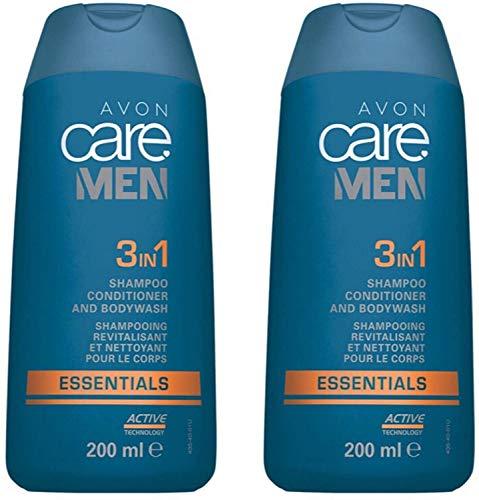 Avon Care Men Essentials Active Lot de 2 shampoings après-shampoing et gel douche 3 en 1 200 ml (400 ml)