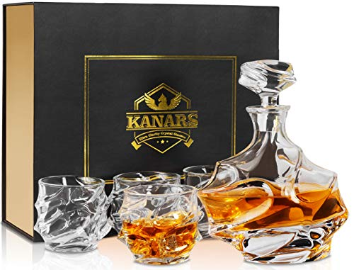 KANARS Whisky Karaffe und Gläser Set, Whiskey Dekanter 750ml mit 4×320ml Gläsern, Kristallglas Whiskybecher, Hochwertige Qualität, Luxuriös Geschenk, 5-teiliges