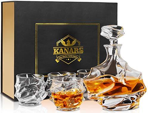 KANARS Bottiglie e Bicchieri Whisky, Decanter da Whiskey Cristallo, 750ml Bottiglia con 4X 320ml Bicchieri, Bellissimo Regalo, 5 Pezzi